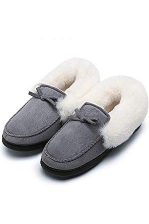 Mishansha Bequeme Mokassin-Hausschuhe für Damen, flauschig warmes Fleecefutter, Hausschuhe mit rutschfester Gummisohle für drinnen und draußen, Grau (hellgrau)