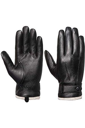 Acdyion Herren Handschuhe - Herren-Handschuhe aus echtem Leder, mit Touchscreen, Kaschmir/Wolle gefüttert