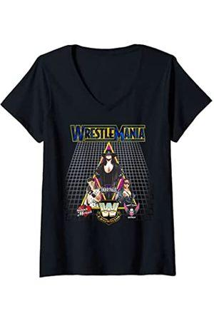 WWE Damen US WrestleMania Legends 2018 02 T-Shirt mit V-Ausschnitt