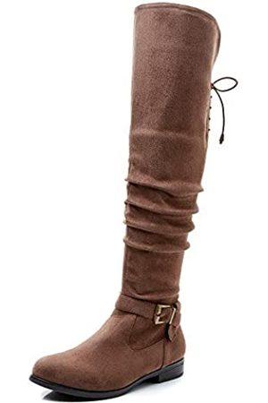 Savaii Damen Stiefel mit rundem Zehenbereich, niedriger Absatz, kniehoch und hoch, (Taupe A)