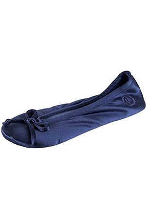 Isotoner Damen Satin Ballerina Hausschuhe Ballett Flach, Blau (Marineblaue weiche Schleife.)