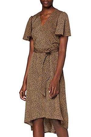 Mela Damen London-Leopard Printed Dipped Hem Maxi Dress Lssiges Kleid