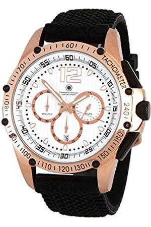 Constantin Durmont Herren Chronograph Quarz Uhr mit Kautschuk Armband CD-TRIB-QZ-RB-RGRG-WH