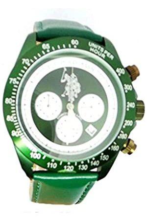 Ralph Lauren Herren Analog Quarz (Japanisch) Uhr mit Leder Armband USP4058GR_GR