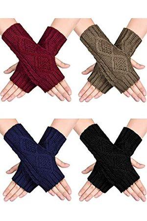 SATINIOR 4 Paare Frauen Winter Warm Stricken Fingerlose Handschuhe Daumenloch Armlinge Fäustlinge ( , Marineblau, Khaki