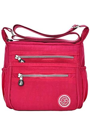 KXF Damen Crossbody Tasche Wasserdicht Nylon Casual Schultertasche Messenger Bag Reise Geldbörse Handtasche mit Multi Tasche, (rosarot)