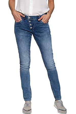 Way Of Glory Damen 5 Pocket Jeans Washed Asymmetrische Knopfleiste
