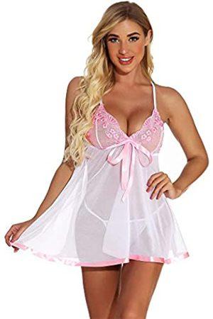 Generic Damen Nachthemd aus Spitze, sexy, bestickt, Pailletten, durchsichtig