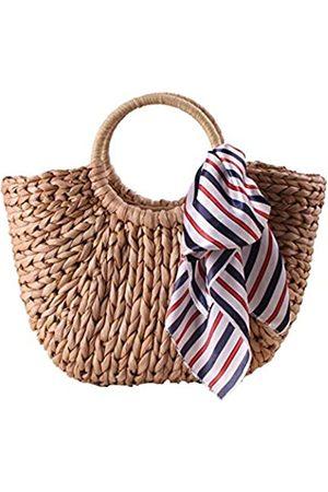 SSMY Damen Handtaschen - Strandtasche aus Stroh, natürliche Hand, Sommer-Handtasche, gewebter Griff, Schultertasche für Damen, Braun (Strohbeutel P1)