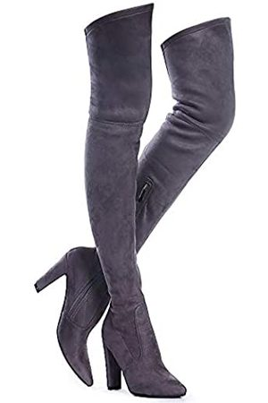 Shoe'N Tale Women Stretch Suede Chunky Heel Thigh High Over The Knee Boots(8.5)
