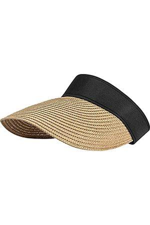 CARSA Herren Caps - Women Straw Sun Visor Hat Wide Brim Summer UV Protection Beach Cap Foldable Sun Hat for Women(Khaki-Empty top)