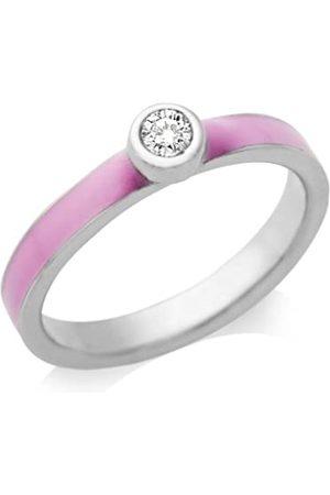 Miore By Joy Damen Ring 925 Sterling Silber Zirkonia Solitär und Emaille rosé Gr.52 JA167R2