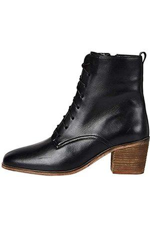 FIND Damen Stiefeletten - Amazon-Marke: Block Heel Lace Up Leather Stiefeletten, Black)