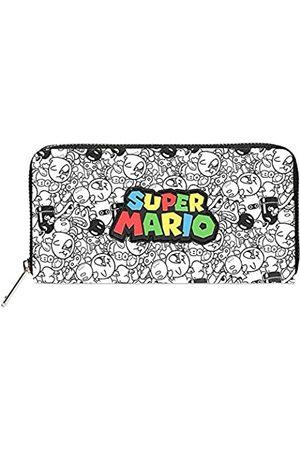 Difuzed Damen Super Mario Bros. Logo with All-Over Villain Characters Print Zip Around Purse Wallet Zubehör