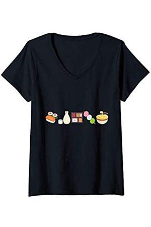 es designs Damen T-Shirts, Polos & Longsleeves - Damen Japanisches Essen Sushi Saki Nudeln Bento Box T-Shirt mit V-Ausschnitt
