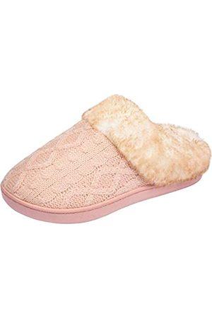 WOTTE Damen Clogs & Pantoletten - Damen Zopfstrick-Hausschuhe Kunstfellfutter Pelzkragen Memory Foam Clog Schuhe, Pink (rose)
