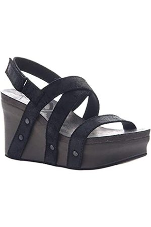 OTBT Damen Sandalen mit Keilabsatz, Schwarz (schwarze Velourslederoptik)