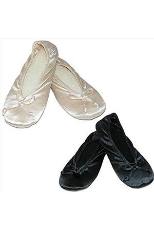 Isotoner Damen Satin Übergröße Ballerina Hausschuhe (2 Stück), Elfenbein (cremefarben / )
