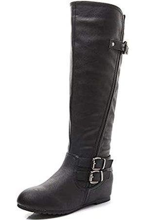 LifeStep Damen Overknees - Damen Lace Up Round Toe Low Heel Overknee Stiefel, ( 1)