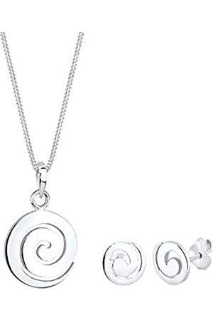 Elli Schmuckset Damen Halskette mit Ohrringen mit Spiral Symbol in 925 Sterling 45 cm lang