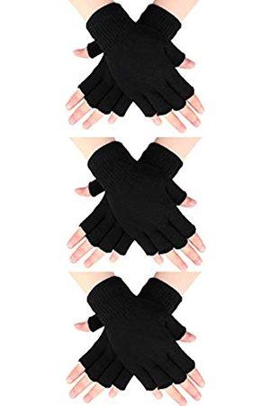 SATINIOR Damen Handschuhe - 3 Paar Halb Fingerhandschuhe Winter Fingerlose Handschuhe Strickhandschuhe für Männer Frauen