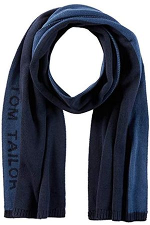TOM TAILOR Herren Jacquard Wording Schal, 10378-Dark Denim Blue