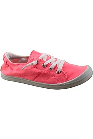 Generic Soda Zig-s Damen Causal Flacher Absatz Slip On Lace Up Look Sneaker Schuhe, (neon pink)