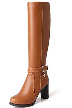 Vimisaoi Damen Elegant Seitlich Reißverschluss Block High Heel Runde Zehen Kleid Combat Schwarz Kniehohe Stiefel, ( (pu))