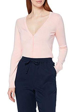 MERAKI Amazon-Marke: Merino Strickjacke Damen mit V-Ausschnitt, Rosa (Pale Pink), 46