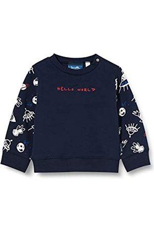 Sanetta Baby-Jungen Shadow Blue Ausgefallenes Sweatshirt in Dunkelblau mit Inter Galactic Alloverprint und unifarbener Vorderseite