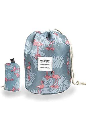Aimei Beauty Make-up-Tasche mit Kordelzug, Reise-Kosmetiktasche für Frauen und Mädchen, tragbar, faltbar, multifunktional, Kulturbeutel, rund, Organizer, Aufbewahrungstasche, weich