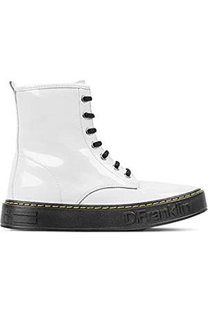 D.franklin Berlian Patent White Slouch Stiefel für Damen