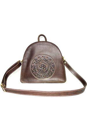 PRERNA Lederrucksack, handgefertigt, Farbe mit Schulterriemen, für Damen, Vintage-Finish, Braun (dunkelbraun)