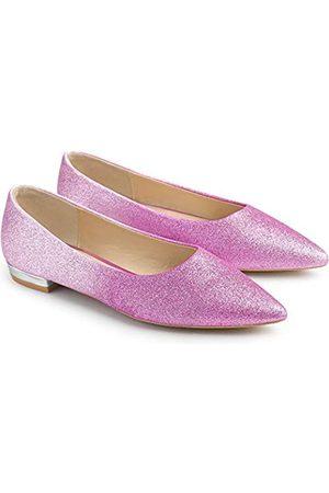 Allegra K Damen Glitzer Spitzer Zehenbereich Ballerinas Schuhe, Pink (rose)