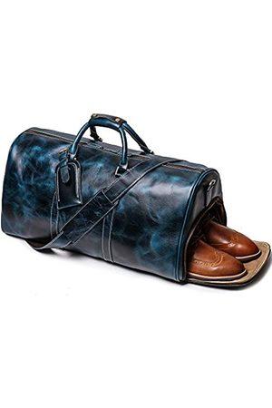 LEATHFOCUS Ledergepäcktasche, Reisetasche mit Schuhfach