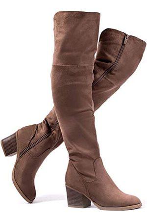 katliu Damen Kniehohe Stiefel mit Absatz, Schnürung, Slouchy High Heel Stiefel, Braun (Khaki-Oberschenkelhoch)