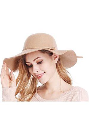 Bienvenu Damen Schlapphut mit breiter Krempe aus Wolle - Beige - Einheitsgröße