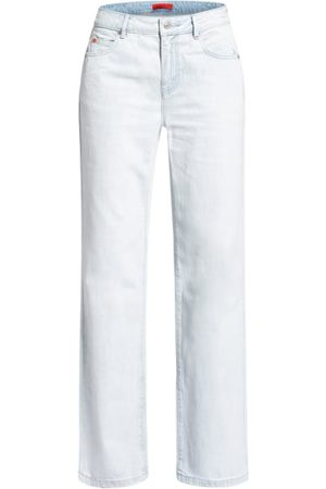 MAX & Co. Hohe Leibhöhe. Ausgestelltes Bein. Schließt mit Knopf und Reißverschluss. 5-Pocket-Style. Maße bei Größe 27:- Bundweite: 74 cm- Vord. Leibhöhe mit Bund: 25 cm- Innenbeinlänge: 83 cm