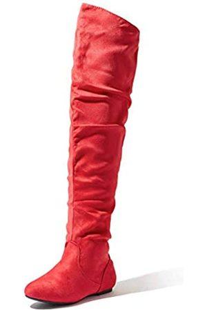 DailyShoes Damen Fashion-Hi Overknee Oberschenkel Hohe Stiefel Sv, (Red Sv)