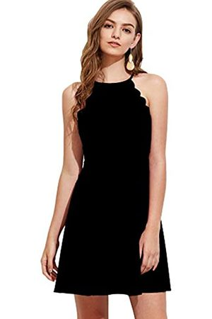 ROMWE Damen Elegant Neckholder Bogenkanten Kleider mit Glockenrock Ärmelloses Sommerkleid M