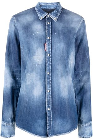Dsquared2 Distressed-Jeanshemd mit Logo-Patch