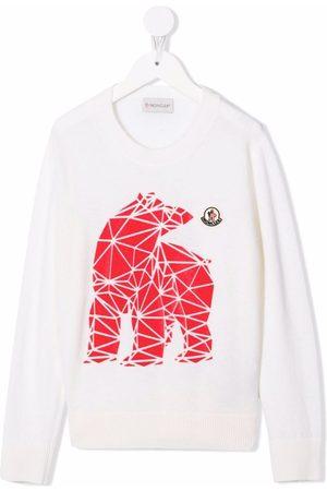 Moncler Jungen Strickpullover - Pullover mit geometrischem Bären-Print