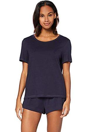 IRIS & LILLY Damen Schlafanzüge - Damen Pyjama-Set aus Baumwolle, blau (marineblau), L