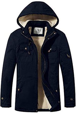 WenVen Herren Baumwolle Winter Parka Jacke Casual Warm Mantel mit Abnehmbarer Kapuze - Blau - X-Large