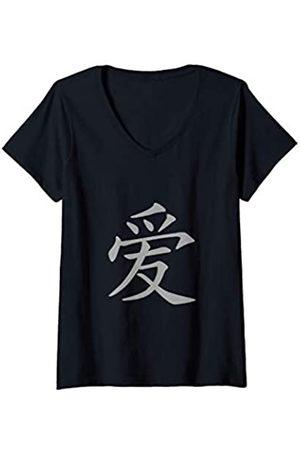 es designs Damen Love Chinesisches Zeichen T-Shirt mit V-Ausschnitt