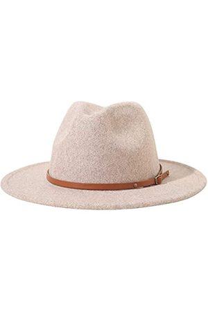 Lanzom Fedora-Hut für Damen, klassischer Stil, mit Gürtelschnalle, breite Krempe