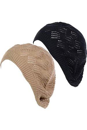 Be Your Own Style BYOS Damen Baskenmütze mit Aussparungen, Spitze, Diamantstrick, leicht, lässig, gehäkelt