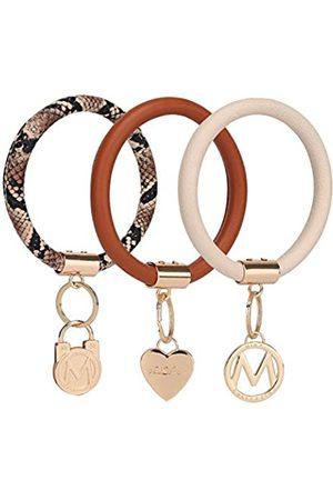 MKF Collection MKF Schlüsselanhänger Armband für Frauen Set - PU Leder Haus Auto Schlüsselhalter Einfach Überziehen Handgelenk Hände frei Armreif Schlüsselanhänger