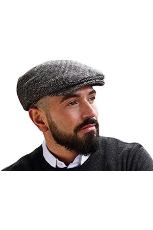 Hanna Hats Herren Donegal Tweed Vintage Flat Driving Cap Made in Irland 100% Wolle - - MEDIUM