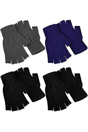 SATINIOR 4 Paar Winter Halbfinger Handschuhe gestrickt fingerlose Fäustlinge Warm Dehnbare Handschuhe für Damen und Herren - - Medium